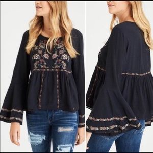 AEO Embroidered Peasant Top W/ Bell Sleeves